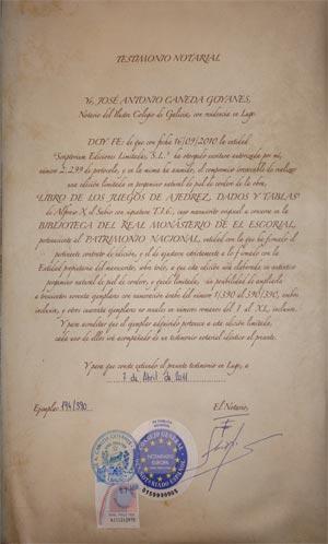 """Spielebuch von Alfons X. """"dem Weisen"""" Zertifikat"""
